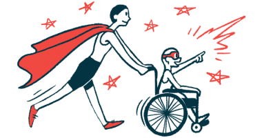 rare disease clinical trial participants | Sarcoidosis News | Illustration of woman in cape pushing child in wheelchair